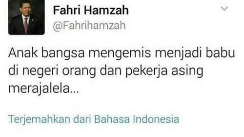 Sebut TKI Babu, Fahri Hamzah Diminta Mundur dari Wakil ketua DPR dan Ketua Timwas