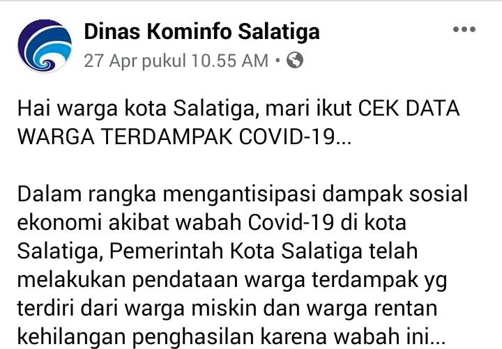 Ajak Cek Data Warga Terdampak Covid, Akun Kominfo Salatiga Ditimpali Komplain Netizen