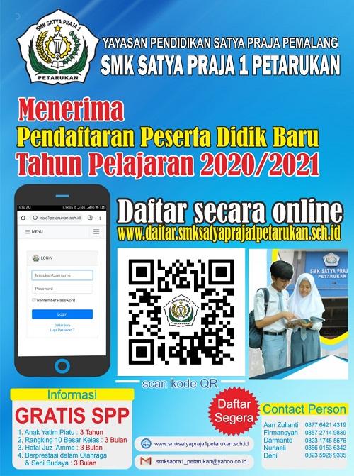 Berikut Ini Cara Daftar dan Pendaftaran PPDB Online SMK Satya Praja Petarukan Pemalang 2020 Klik www.daftar.smksatyaprajapetarukan.sch.id