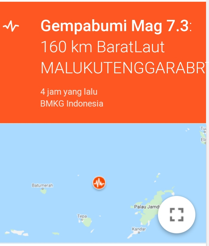 Gempa M 7,3 Guncang Maluku Tenggara Barat
