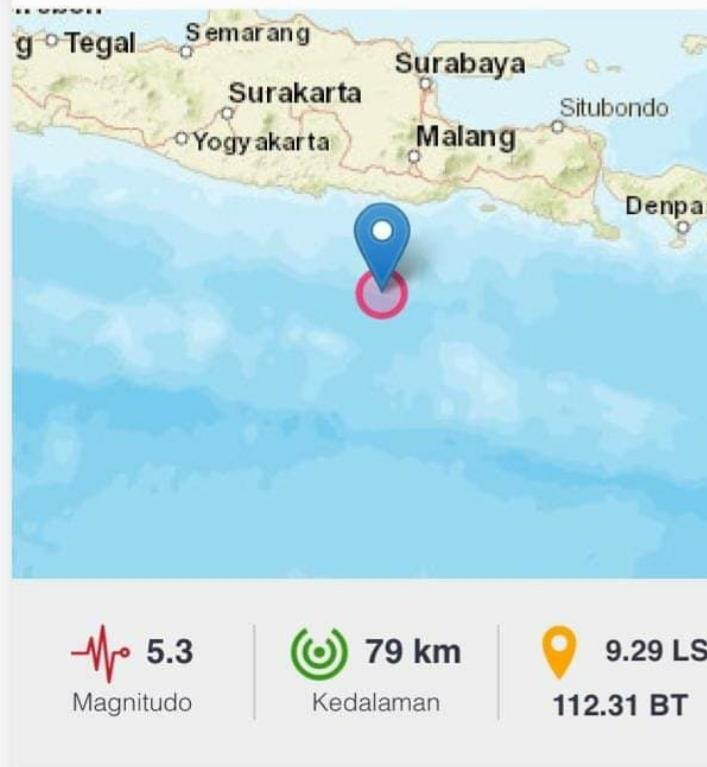 Gempa Berkekuatan Magnitudo 5.3 Mengguncang Blitar, Jawa Timur