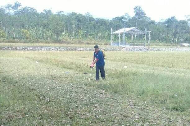 Pemuda Desa Cikendung Kerja Bakti Wujudkan Lapangan Sepak Bola Bersih dan Terawat.